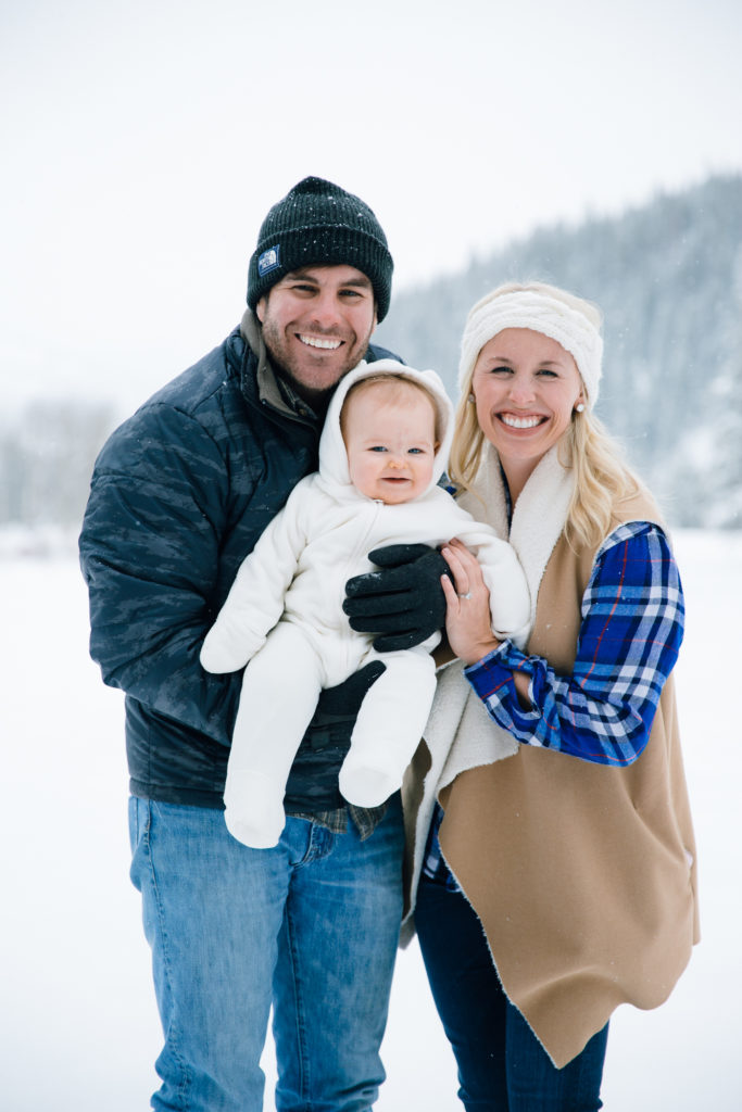 Winter family photos with baby in Colorado.